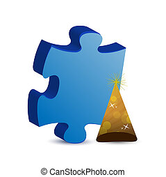 puzzle piece and hat illustration concept design graphic