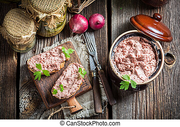 Delicious sandwich with pate and parsley