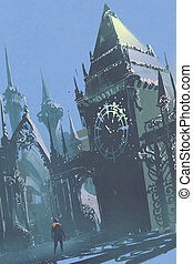clock tower in sci-fi city - man looking at the clock tower...