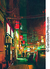 sidewalk in the city at night