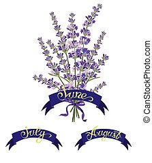 Set labels with hand-drawn lettering, months names of season year, Beautiful bouquet of lavender flowers