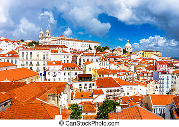 Alfama District of Lisbon - Lisbon, Portugal town skyline at...