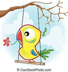 Parrot with tree - This file represents a colorful parrot...