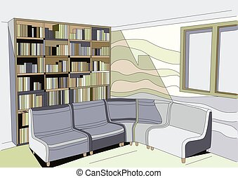 interior with bookcase - interior with sofa and bookcase