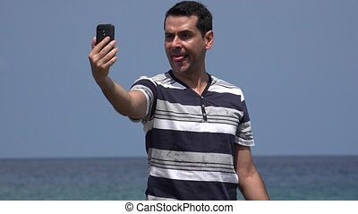 Goofy Man Taking Selfie And Funny Faces