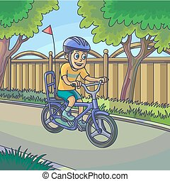 Young boy riding a bicycle on street.
