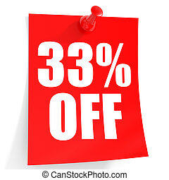 Discount 33 percent off. 3D illustration on white...