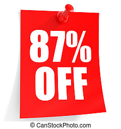 Discount 87 percent off. 3D illustration on white...