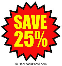 Discount 25 percent off 3D illustration on white background...