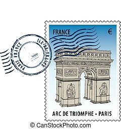 Postmark from France - Postmark with sight of The Arc de...
