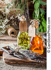 Homemade tincture made of herbs and alcohol