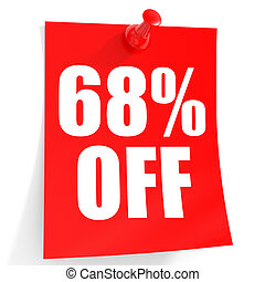 Discount 68 percent off 3D illustration on white background...