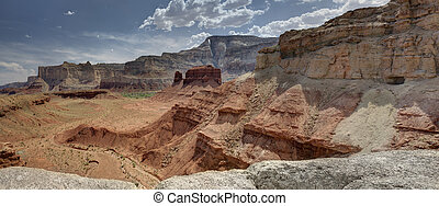 Hondu Arch and McKay Flat from Reds Canyon in the San Rafael...