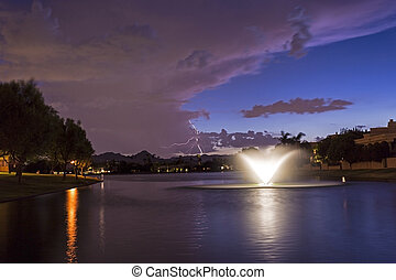 Marguerite Lake in Scottsdale Arizona at Sunset - Marguerite...