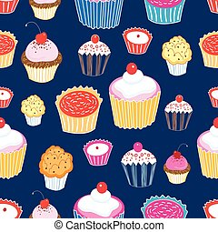 Pattern color delicious cakes - Seamless graphic vector...