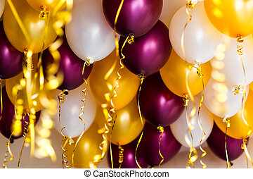 colourful balloons, golden, white, red, streamers isolated -...