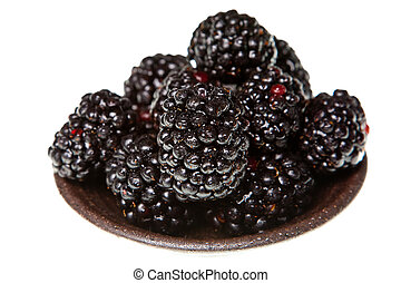 blackberries isolated on a pure white background