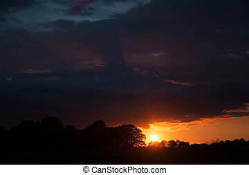 Sunsat at Ruegen, Germany - Sunset at the island Ruegen,...