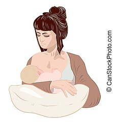 Mother breastfeeding her newborn baby child holding little girl in caring hands using nursing pillow.