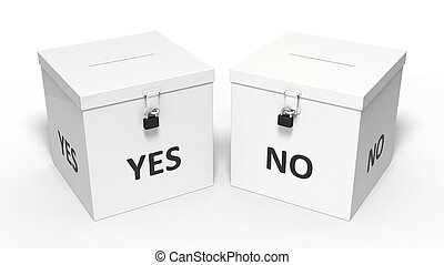 3d illustration of dual vote box.
