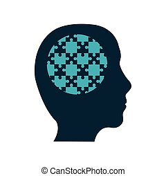 puzzle head jigsaw game figure icon. Vector graphic