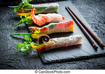 Fresh spring rolls wrapped in rice paper