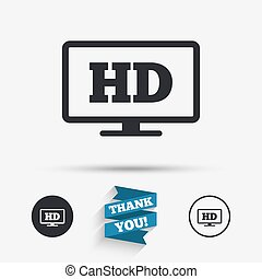 HD widescreen tv. High-definition symbol. - HD widescreen tv...