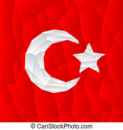 polygonal turkish flag illustration