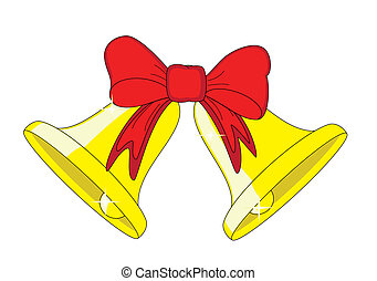 Two golden bells with a red bow