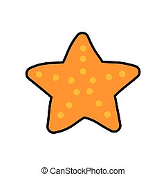 sea star life cartoon orange icon. Vector graphic - sea star...