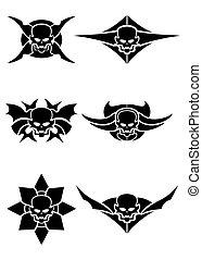 Skull tribal tattoo vector set