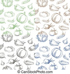 Vegetables seamless pattern - Vector seamless pattern of...