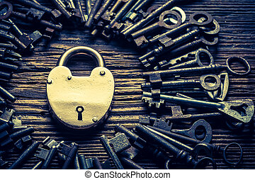 Old keys and locks on old wooden table
