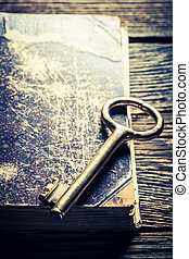 Closeup of aged books and keys