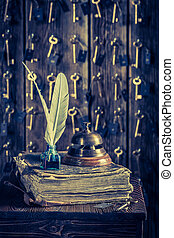 Guestbook and keys for rooms in vintage reception in hotel