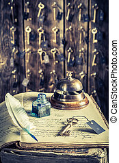 Keys for rooms and guestbook in vintage front desk in hotel