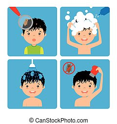 boy with lice step by step how to remove lice
