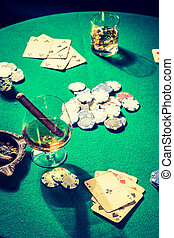Closeup of gambling table with cards and chips