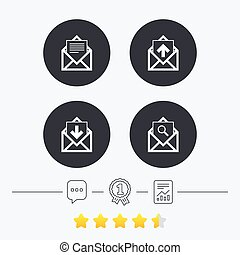 Mail envelope icons Message document symbols - Mail envelope...