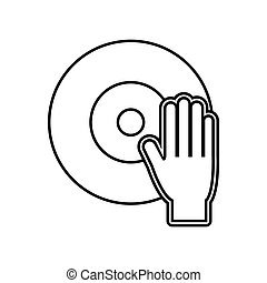 vinyl hand music sound dj icon. Vector graphic