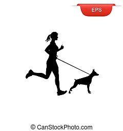 running girl with her dog, icon