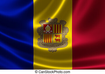 Flag of the Principality of Andorra - 3D rendering of the...