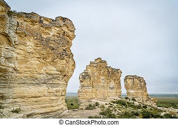 limestone pilars in Kansas prairie - limestone pillar...