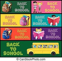 School Banner Set Part 1 - Set of cartoon banners for school...