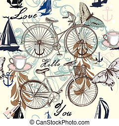Seamless vector pattern with bicycle