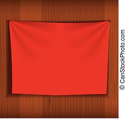 Background for poster mockup with curtain hang on wood wall