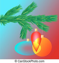 Colorful transparent Christmas ball on spruce branch, vector illustration
