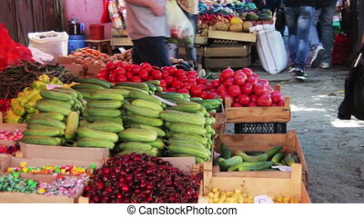 Showcase Fruits And Vegetables - Farm fruit market. Showcase...