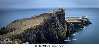 Neist point lighthouse, Isle of Skye, Scotland. Long...