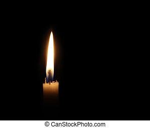 Burning candle - White burning candle on black dark night